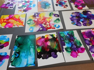 Collection of teen's alcohol ink paintings