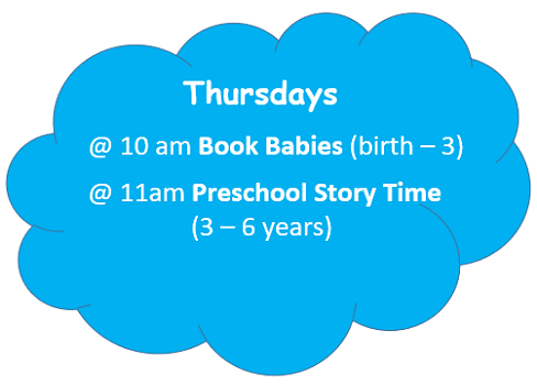 Thursday Story Times in a blue cloud