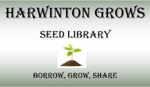 Harwinton Grows seed library logo. Borrow, Grow, Share